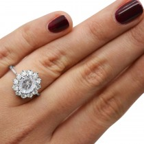 Oval Salt & Pepper and White Diamond Accented Ring 14k White Gold (2.80ctw)