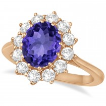 Oval Tanzanite and Diamond Lady Di Ring 14k Rose Gold (3.60ctw)