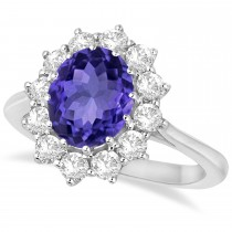 Oval Tanzanite and Diamond Lady Di Ring 14k White Gold (3.60ctw)