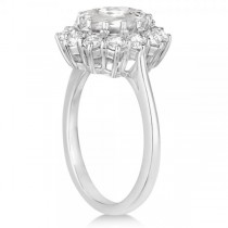 Oval Shape White Topaz & Diamond Accented Ring 14k White Gold (3.60ct)