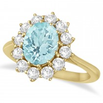 Oval Aquamarine and Diamond Ring 14k Yellow Gold (3.60ctw)
