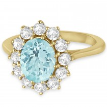 Oval Aquamarine and Diamond Ring 14k Yellow Gold (3.60ctw)
