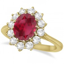 Oval Ruby and Diamond Ring 14k Yellow Gold (3.60ctw)