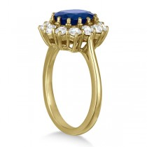 Oval Blue Sapphire & Diamond Accented Ring 14k Yellow Gold (3.60ctw)