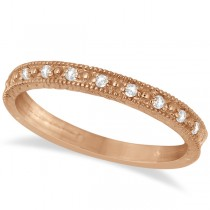 Milgrain Style Pave Set Diamond Ring in 14k Rose Gold (0.10 ct)