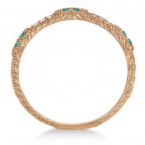 Vintage Stacking Diamond & Blue Diamond Ring Band 14k Rose Gold (0.15ct)