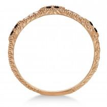 Vintage Stacking Diamond & Black Diamond Ring Band 14k Rose Gold (0.15ct)