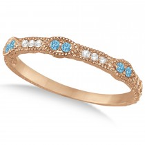 Vintage Stacking Diamond & Blue Topaz Ring Band 14k Rose Gold (0.15ct)