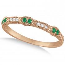 Vintage Stacking Diamond & Emerald Ring Band 14k Rose Gold (0.15ct)