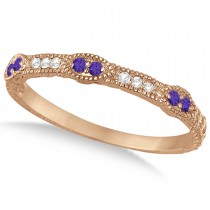 Vintage Stacking Diamond & Tanzanite Ring Band 14k Rose Gold (0.15ct)