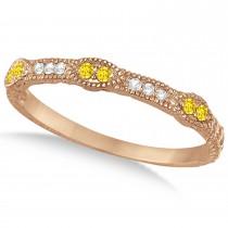 Vintage Stacking Diamond & Yellow Sapphire Ring Band 14k Rose Gold (0.15ct)