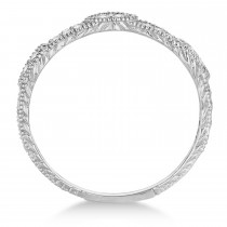 Pave Set Vintage Stacking Diamond Ring Band 14k White Gold (0.15ct)|escape