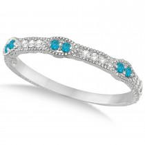 Pave Set Vintage Stacking Diamond & Blue Diamond Ring Band 14k White Gold (0.15ct)