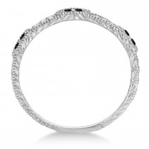 Vintage Stacking Diamond & Black Diamond Ring Band 14k White Gold (0.15ct)