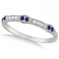 Pave Set Vintage Stacking Diamond & Blue Sapphire Ring Band 14k White Gold (0.15ct)
