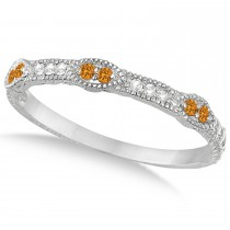Vintage Stacking Diamond & Citrine Ring Band 14k White Gold (0.15ct)