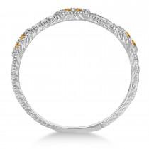 Vintage Stacking Diamond & Citrine Ring Band 14k White Gold (0.15ct)