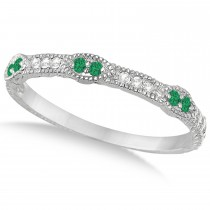 Vintage Stacking Diamond & Emerald Ring Band 14k White Gold (0.15ct)