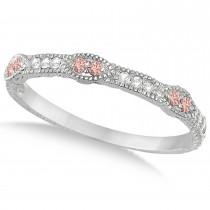 Vintage Stacking Diamond & Morganite Ring Band 14k White Gold (0.15ct)