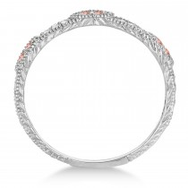 Vintage Stacking Diamond & Morganite Ring Band 14k White Gold (0.15ct)|escape