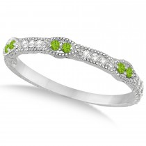 Vintage Stacking Diamond & Peridot Ring Band 14k White Gold (0.15ct)