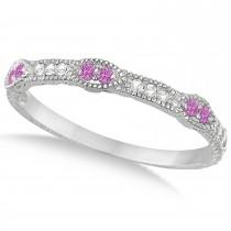 Vintage Stacking Diamond & Pink Sapphire Ring Band 14k White Gold (0.15ct)