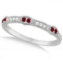 Vintage Stacking Diamond & Ruby Ring Band 14k White Gold (0.15ct)