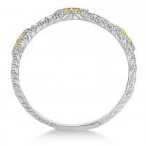 Vintage Stacking Diamond & Yellow Diamond Ring Band 14k White Gold (0.15ct)