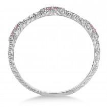 Pave Set Vintage Stacking Pink & White Diamond Ring Band 14k White Gold (0.15ct)