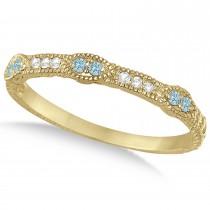 Vintage Stacking Diamond & Aquamarine Ring Band 14k Yellow Gold (0.15ct)