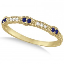 Vintage Stacking Diamond & Blue Sapphire Ring Band 14k Yellow Gold (0.15ct)