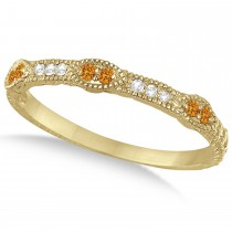 Vintage Stacking Diamond & Citrine Ring Band 14k Yellow Gold (0.15ct)