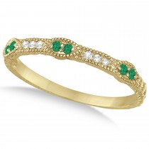 Vintage Stacking Diamond & Emerald Ring Band 14k Yellow Gold (0.15ct)