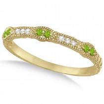 Vintage Stacking Diamond & Peridot Ring Band 14k Yellow Gold (0.15ct)