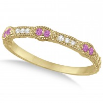 Vintage Stacking Diamond & Pink Sapphire Ring Band 14k Yellow Gold (0.15ct)