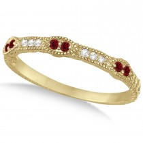 Vintage Stacking Diamond & Ruby Ring Band 14k Yellow Gold (0.15ct)