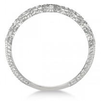 Pave Set Heart Design Diamond Ring Band 14k White Gold (0.15ct)