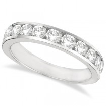 Channel-Set Round Diamond Ring Band Palladium (1.25ct)