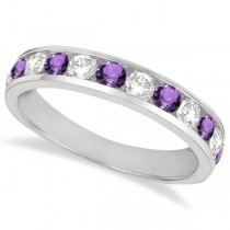 Channel-Set Amethyst & Diamond Ring Band 14k White Gold (1.20ct)