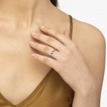 Channel-Set Amethyst & Diamond Ring Band 14k White Gold (1.20ct)|escape
