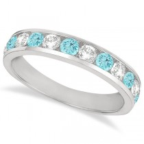 Channel-Set Aquamarine & Diamond Ring Band 14k White Gold (1.20ct)