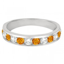 Channel-Set Citrine & Diamond Ring Band 14k White Gold (1.20ct)