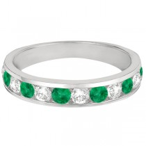 Channel-Set Emerald & Diamond Ring Band 14k White Gold (1.20ctw)|escape