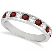 Channel-Set Garnet & Diamond Ring Band 14k White Gold (1.20ct)