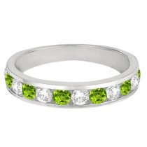 Channel-Set Peridot & Diamond Ring Band 14k White Gold (1.20ct)