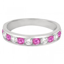 Channel-Set Pink Sapphire & Diamond Ring Band 14k White Gold (1.20ct)