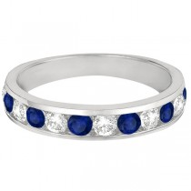 Channel-Set Sapphire & Diamond Ring Band 14k White Gold (1.20ctw)