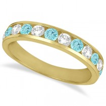 Channel-Set Aquamarine & Diamond Ring Band 14k Yellow Gold (1.20ct)