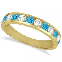 Channel-Set Blue Topaz & Diamond Ring Band 14k Yellow Gold (1.20ct)