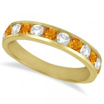 Channel-Set Citrine & Diamond Ring Band 14k Yellow Gold (1.20ct)